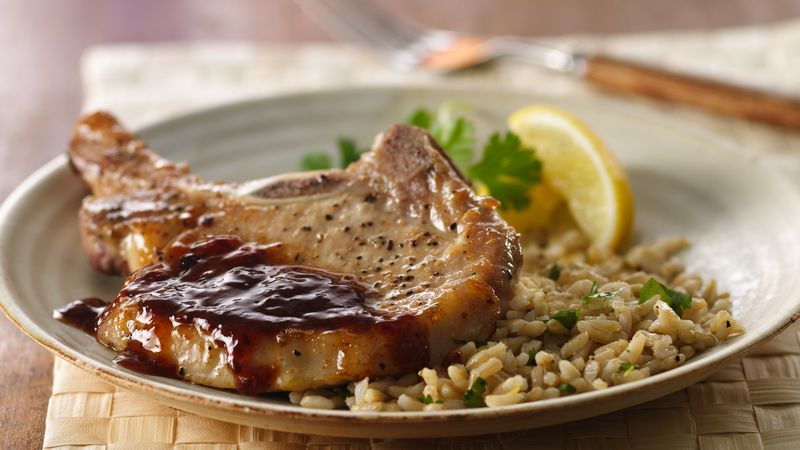 Pork Chops with Raspberry Chipotle Sauce and Herbed Rice